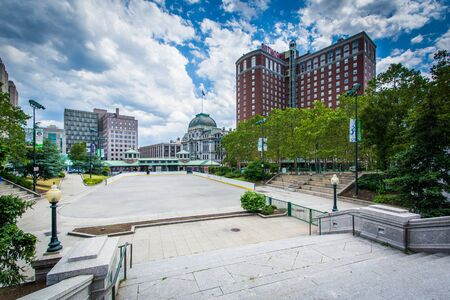 providence: Staircase and buildings in downtown Providence, Rhode Island. Stock Photo