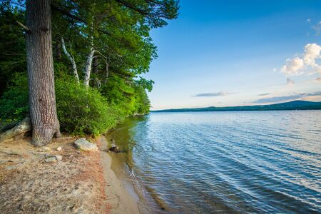 laconia: The shore of Winnisquam Lake, at Ahern State Park, in Laconia, New Hampshire. Stock Photo