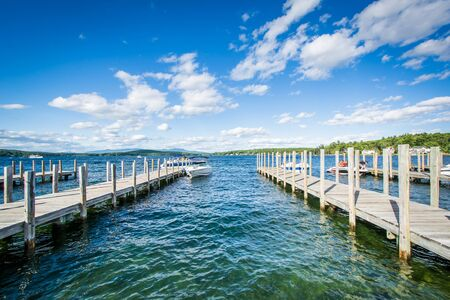 laconia: Docks along Lake Winnipesaukee in Weirs Beach, Laconia, New Hampshire.