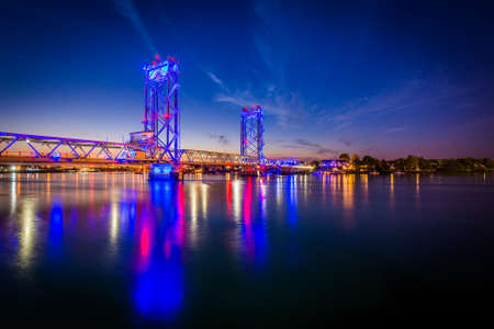 portsmouth: The Memorial Bridge over the Piscataqua River at night, in Portsmouth, New Hampshire.