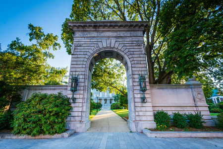 Arch in front of the New Hampshire State House, in Concord, New Hampshire. Stock Photo