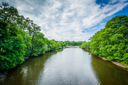 dover: The Cochecho River, in Dover, New Hampshire. Stock Photo