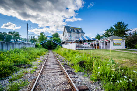 laconia: Railroad tracks in Weirs Beach, Laconia, New Hampshire. Stock Photo