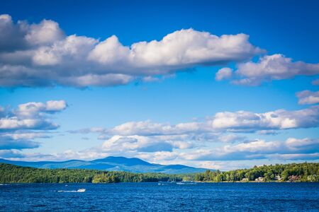 laconia: Mountain ranges and Lake Winnipesaukee in Weirs Beach, Laconia, New Hampshire.