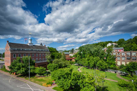 laconia: View of Rotary Park and historic buildings along the Winnipesaukee River, in Laconia, New Hampshire.