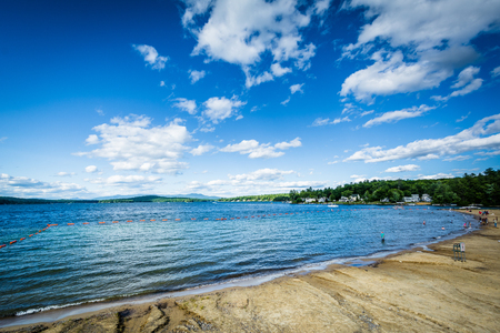 laconia: View of Endicott Rock Park Beach along Lake Winnipesaukee in Weirs Beach, Laconia, New Hampshire.