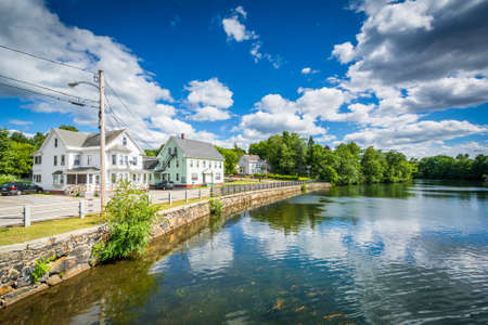 laconia: Houses along the Winnipesaukee River, in Laconia, New Hampshire.