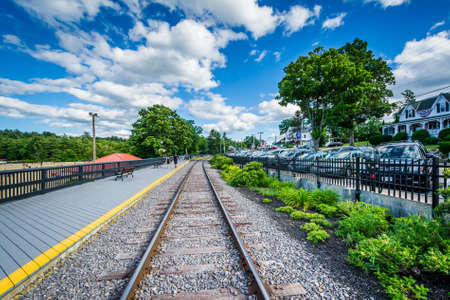laconia: Railroad tracks in Weirs Beach, Laconia, New Hampshire. Stock Photo