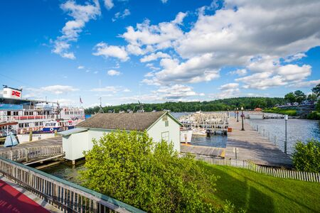 laconia: View of docks on Lake Winnipesaukee in Weirs Beach, Laconia, New Hampshire.