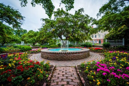 hampshire: Fountain and gardens at Prescott Park, in Portsmouth, New Hampshire. Stock Photo