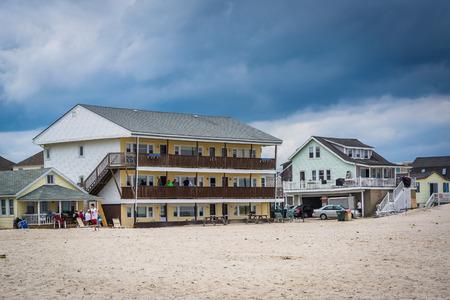 beachfront: Beachfront homes in Hampton Beach, New Hampshire. Editorial