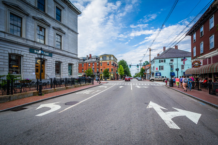 hampshire: State Street, in downtown Portsmouth, New Hampshire. Editorial
