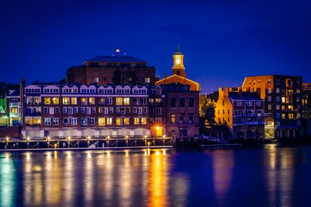portsmouth: Buildings along the Piscataqua River at night, in Portsmouth, New Hampshire.