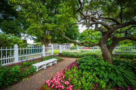 garden city: Gardens at Prescott Park, in Portsmouth, New Hampshire. Stock Photo