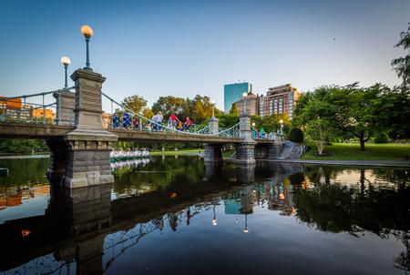 Bridge over the lake at the Boston Public Garden, in Boston, Massachusetts.