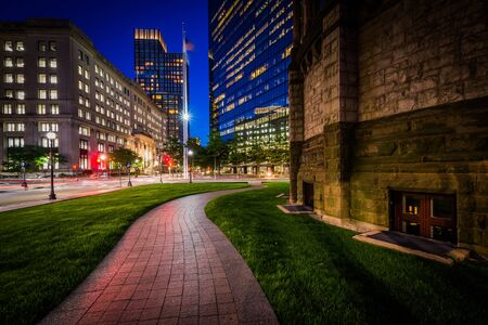 back bay: Walkway adjacent to Trinity Church and modern buildings at Copley, in Back Bay, Boston, Massachusetts.