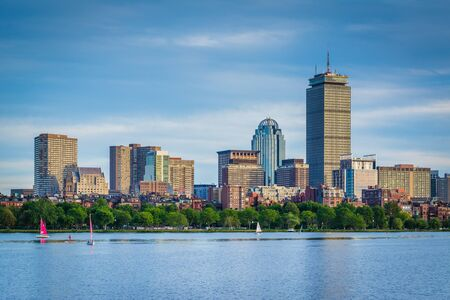 back bay: View of the Charles River and  buildings in Back Bay from Cambridge, Massachusetts.