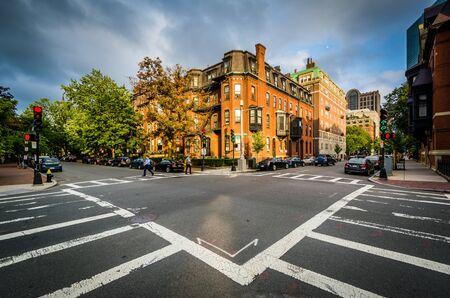 The intersection of Marlborough Street and Claredon Street, in Back Bay, Boston, Massachusetts.