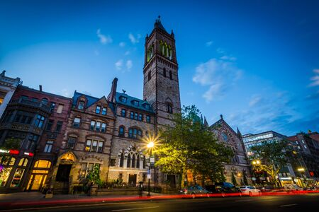 The Old South Church and Boylston Street at night, at Copley, in Back Bay, Boston, Massachusetts. Stock Photo