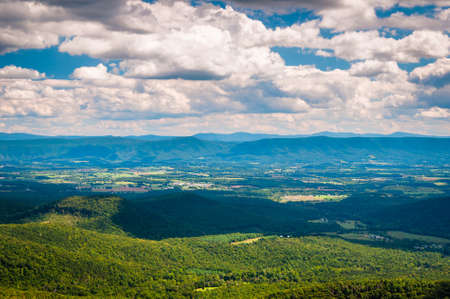 View of the Shenandoah Valley and Appalachian Mountains from the Mill Mountain Trail on Great North Mountain in George Washington National Forest, Virginia.