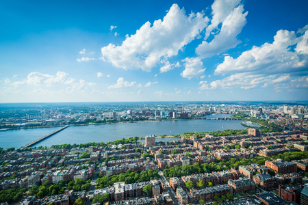 back bay: View of Back Bay and the Charles River, in Boston, Massachusetts. Stock Photo