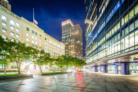 back bay: Modern buildings at night at Copley, in Back Bay, Boston, Massachusetts. Stock Photo