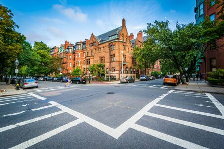 back bay: The intersection of Marlborough Street and Exeter Street, in Back Bay, Boston, Massachusetts.