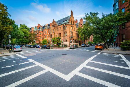 marlborough: The intersection of Marlborough Street and Exeter Street, in Back Bay, Boston, Massachusetts.