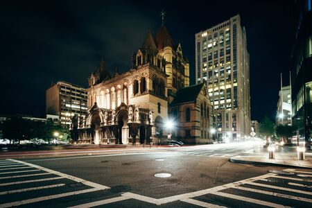 back bay: Trinity Church and the intersection of Saint James Avenue and Trinity Place, in Back Bay, Boston, Massachusetts.