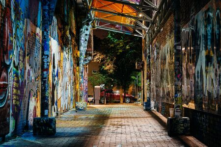 Graffiti Alley at night, near Central, in Cambridge, Massachusetts. Editorial