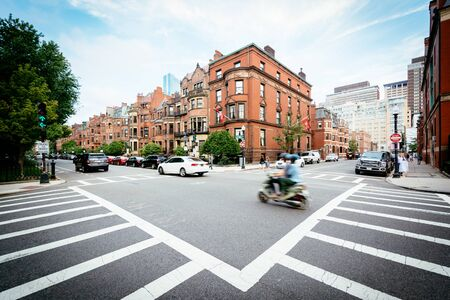 The intersection of Commonwealth Street and Fairfield Street, in Back Bay, Boston, Massachusetts. Editorial