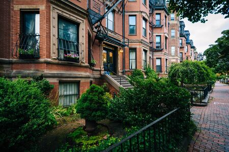 back bay: Beautiful brick rowhouses in Back Bay, Boston, Massachusetts. Stock Photo