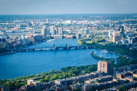back bay: View of the Charles River and Longfellow Bridge, in Boston, Massachusetts. Stock Photo