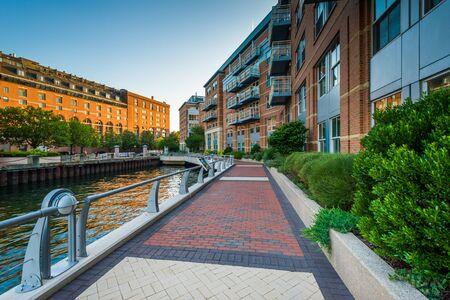 north end: The Boston Harborwalk at Battery Wharf, in the North End, Boston, Massachusetts.