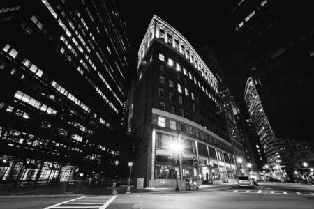 financial district: Buildings in the Financial District at night, in Boston, Massachusetts.