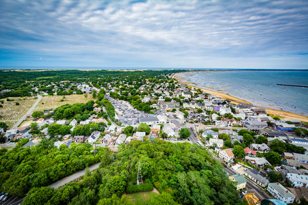 View of Provincetown from the Pilgrims Monument, in Provincetown, Cape Cod, Massachusetts.
