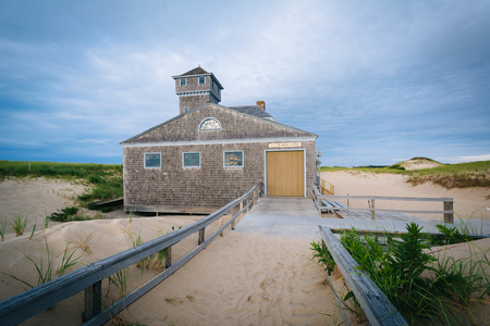 life saving: The Old Harbor U.S. Life Saving Station, at Race Point, in the Province Lands at Cape Cod National Seashore, Massachusetts. Stock Photo
