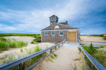 The Old Harbor U.S. Life Saving Station, at Race Point, in the Province Lands at Cape Cod National Seashore, Massachusetts. Stock Photo