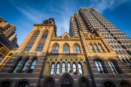 City Hall and the Connecticut Financial Center, in downtown New Haven, Connecticut.