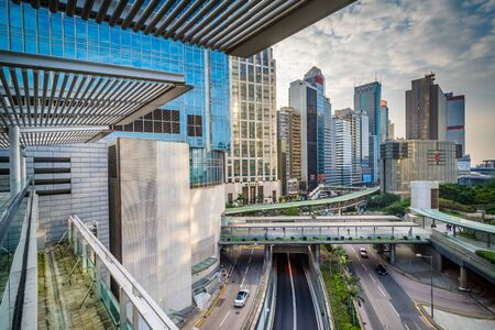 View of skyscrapers at Central, in Hong Kong, Hong Kong.