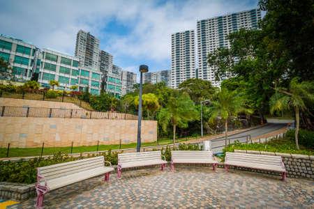 repulse: Benches and buildings at Repulse Bay, in Hong Kong, Hong Kong.