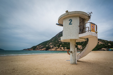 Lifeguard stand at Shek O Beach, on Hong Kong Island, Hong Kong.