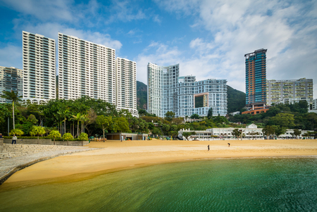 Skyscrapers and beach at Repulse Bay, in Hong Kong, Hong Kong.