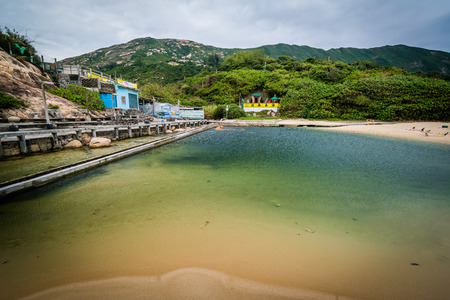 hong kong island: Lagoon at Shek O Beach, on Hong Kong Island, in Hong Kong. Stock Photo