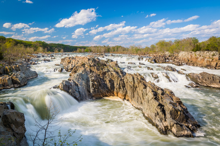 Rapids in the Potomac River at Great Falls Park, Virginia. Stock Photo