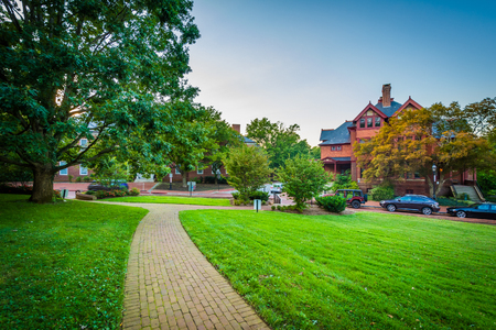 Walkway outside the Maryland State House, in Annapolis, Maryland. Stock Photo