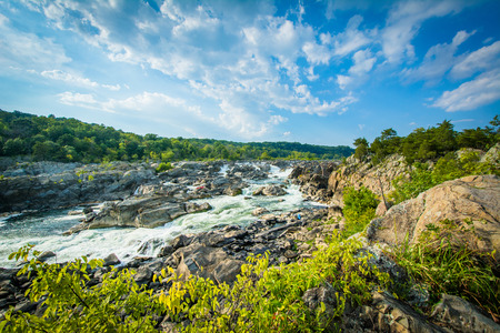 Rapids in the Potomac River at Great Falls, seen from Olmsted Island at Chesapeake & Ohio Canal National Historical Park, Maryland.