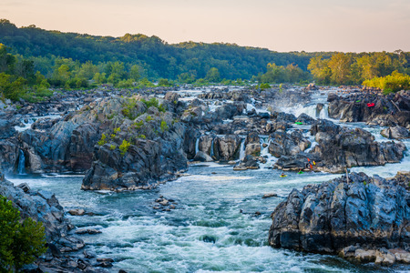 wispy: View of rapids in the Potomac River at sunset, at Great Falls Park, Virginia.