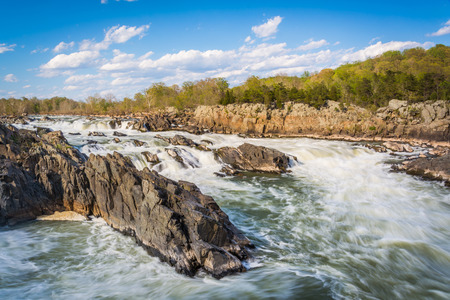 rapids: Rapids in the Potomac River at Great Falls Park, Virginia. Stock Photo