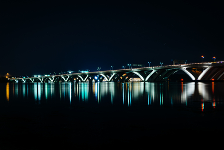 alexandria: The Woodrow Wilson Bridge at night, in Alexandria, Virginia.